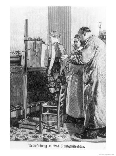 Wilhelm Konrad Roentgen X-Raying a Young Boy, from a Book by Hans Kraemer, circa 1898-99--Giclee Print