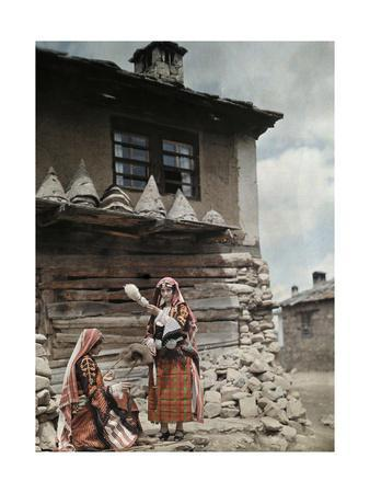 Islamic Bulgarian Pomak Peasant Women Spinning Wool Yarn