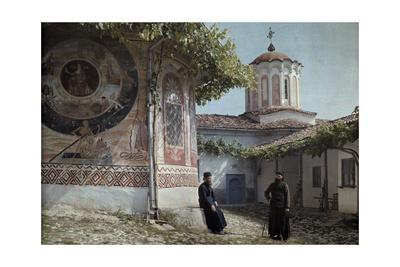 Preobrajenski Monastery Monks Rest Outside Church Adorned with Murals