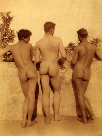 Study of Three Male Nudes, Sicily, C.1900