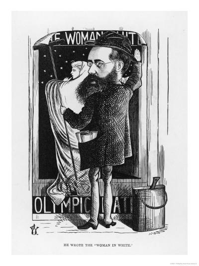 Wilkie Collins English Novelist: a Satire on His Popular Novel the Woman in White-F^ Waddy-Giclee Print