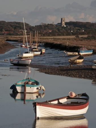England, Norfolk, Morston Quay; Rowing Boats and Sailing Dinghies at Low Tide