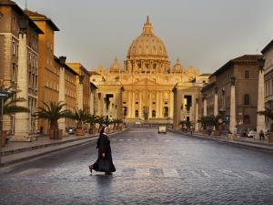 Nun Crossing Road in Front of St. Peter's Basilica by Will Salter