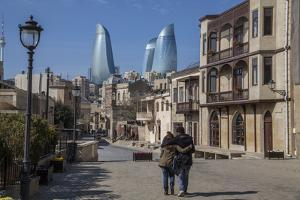 A Couple Strolls Through Baku's Old City under the Modern Flame Towers by Will Van Overbeek