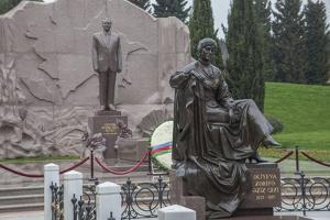 A Statue of President Haydar Aliyev at the Honorable Cemetery by Will Van Overbeek