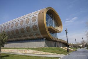 Exterior of Baku's Carpet Museum by Will Van Overbeek