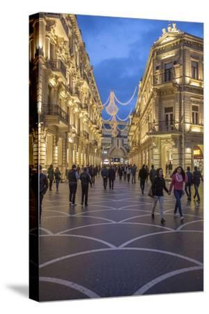 Pedestrians Stroll Through Baku's Shopping District