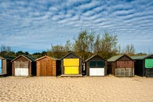 A Row of Beach Changing Huts by Will Wilkinson