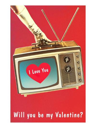 Will You Be My Valentine? Heart on TV--Art Print