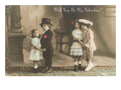 Will You Be My Valentine? Two Child Couples--Art Print