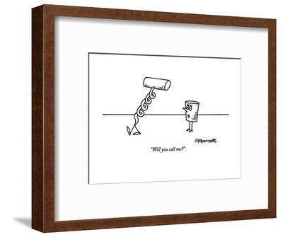 """Will you call me?"" - New Yorker Cartoon-Charles Barsotti-Framed Premium Giclee Print"