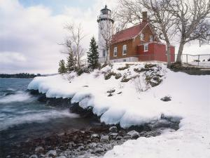 Winter Morning Light on Eagle Harbour Lighthouse on Lake Superior, Michigan, USA by Willard Clay