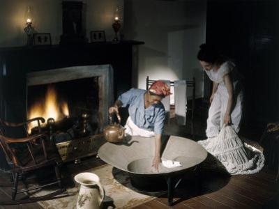 Costumed Women Reenact Taking a Bath before Advent of Modern Plumbing by Willard Culver