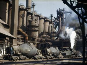 Railroad Containers Line Up to Take Molten Iron from Blast Furnaces by Willard Culver