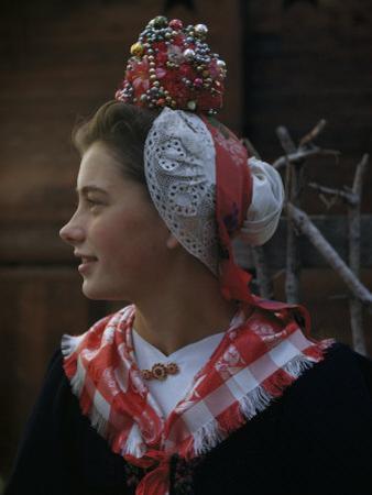 Woman Models a Traditional Bride's Headdress from Evolene by Willard Culver