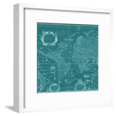 Blueprint World Map, Teal