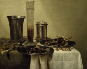 A Dessert, Previously Called Still Life with Silver Tumbler. 1637 by Willem Claesz Heda