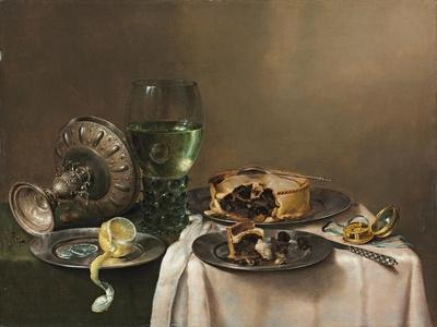 Pronk Still Life, with a Roemer, an Upturned Silver Tazza, a Half-Peeled Lemon on a Pewter Plate,…