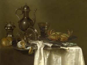 Still Life: Pewter, Silver Vessels and a Crab, Ca 1636 by Willem Claesz Heda