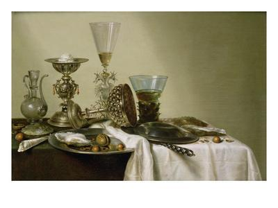 Still Life with Oysters and Nuts, 1637 (Oil on Panel)