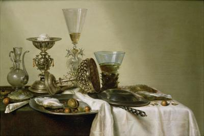 Still Life with Oysters and Nuts, 1637 (Oil on Panel) by Willem Claesz. Heda