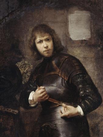 A Soldier, Standing Three-Quarter Length, Buckling His Belt