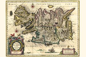 Map Of Iceland by Willem Janszoon Blaeu
