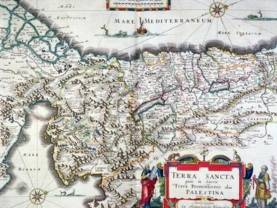 Map of the Holy Land, Published in Amsterdam, 1629