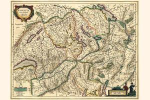 Switzerland, With Neighboring Confederated Territories by Willem Janszoon Blaeu