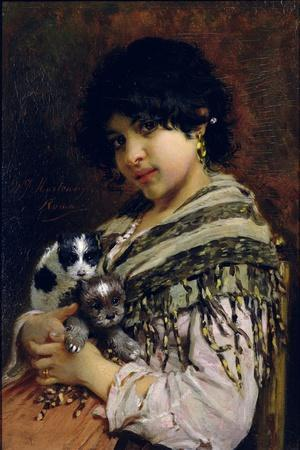 Gypsy Girl with Two Puppies