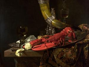 Still Life with the Drinking-Horn of the St. Sebastian Archers' Guild, Lobster and Glasses, C.1653 by Willem Kalf