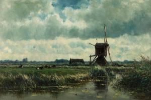 Polder Landscape with Windmill Near Abcoude, C. 1870 by Willem Roelofs