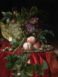 Still Life with Grapes and Peaches by Willem van Aelst