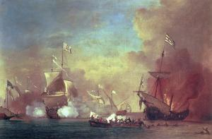 Barbary Pirates Attacking a Spanish Ship by Willem van de II Velde