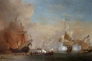 Pirates Attacking a British Navy Ship, 17th Century by Willem Van De Velde The Younger