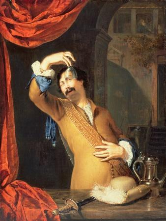 T31553 a Cavalier Standing at a Window Examining a Roemer (Panel)