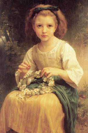 A Young Girl Braids a Garland Crown of Flowers