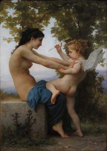A Young Girl Defending Herself Against Eros, 1880 by William-Adolphe Bouguereau