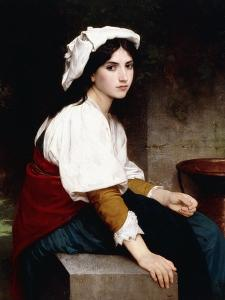 Italian Girl by a Fountain, 1870 by William Adolphe Bouguereau