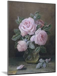 Pink Roses in a Glass Vase by William B. Hough