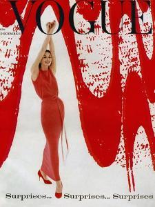 Vogue Cover - December 1958 - Paint the Town Red by William Bell