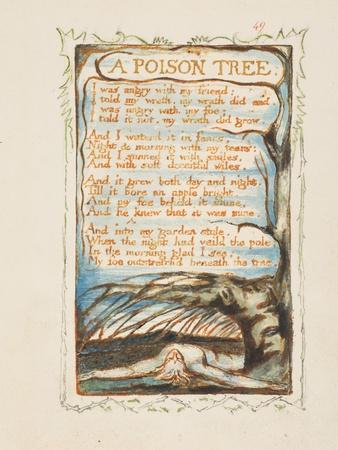 A Poison Tree. Songs of Innocence and of Experience, Ca 1825