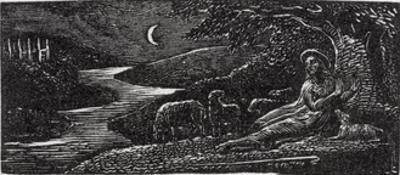 Colinet Resting at Cambridge by Night, Illustration from Dr. Thornton's 'The Pastorals of Virgil' by William Blake