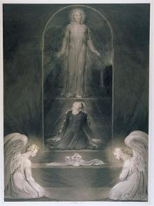 Mary Magdalene at the Sepulchre, C.1805 (W/C and Pen and Black Ink on Paper) by William Blake