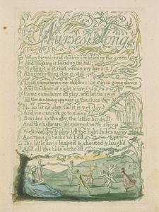 'Nurse's Song,' Plate 18 from 'Songs of Innocence,' 1789 by William Blake