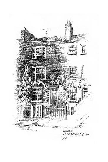 William Blake's House, 23 Hercules Road, London, 1912-Frederick Adcock-Giclee Print
