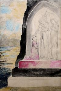 The Angel with the Sword Marking Dante with the Sevenfold' from 'Purgatorio' by William Blake