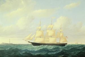 'Dashing Wave' Clipper Ship Off Boston Light, 1855 by William Bradford