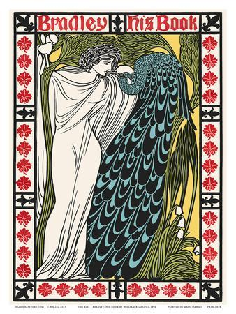 The Kiss - Bradley: His Book - Woman with Peacock - Art Nouveau Poster