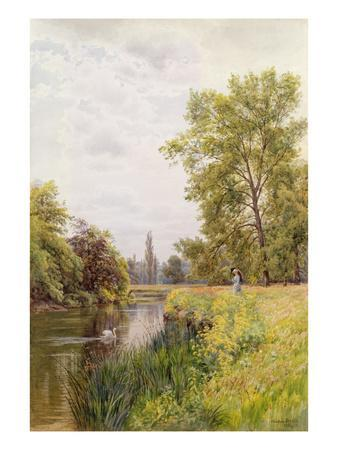 The Thames at Purley, 1884 (W/C on Paper)